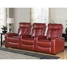homcom pvc leather recliner and ottoman set cream larson leather reclining home theater seating 3 piece set red