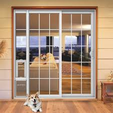 Patio Door With Pet Door Built In Patio Door With Built In Door They Design Doors Throughout