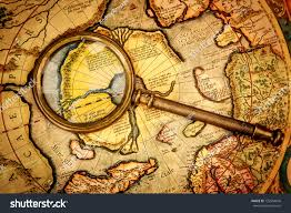 Ancient Map Vintage Magnifying Glass Lies On Ancient Stock Photo 132954656