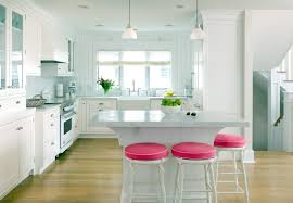 All White Kitchen Cabinets Divine Red Rounded Stools Feat White Granite Top Kitchen Island On