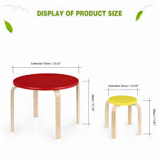 Kids Round Table And Chairs Ikayaa Cute Solid Wood Round Kids Table And 4 Chairs Set Furniture