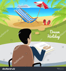 Office Table Back View Dream Holiday Man Sitting On Chair Stock Vector 476270470