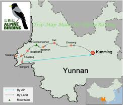 Kunming China Map by Choose Yunnan Birding Tours To See Endemic Birds