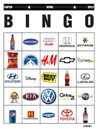 affordable designing super bowl commercial bingo cards template
