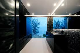 small luxury modern bathroom design with black and white interior