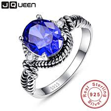 tanzanite blue rings images Vintage tanzanite blue nature stone round cut silver twisted rings jpg