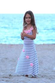 mia belle baby striped maxi dress with flower trim toddler