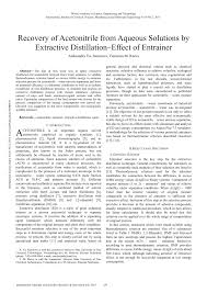 recovery of acetonitrile from aqueous solutions by extractive