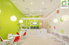 Green Wall Paint Decorating Cool Interior Design Of An Ice Cream Shop With Green