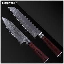 professional kitchen knives set luxury damascus knives set 7 inch santoku 6 inch chef knife