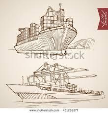 engraving vintage hand drawn vector ship stock vector 461268292
