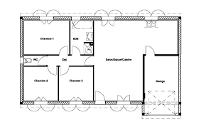 plan de maison plein pied gratuit 3 chambres plan de maison de 3 chambres