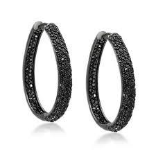 black hoop earrings black onyx color cz inside out hoop earrings black rhodium plated