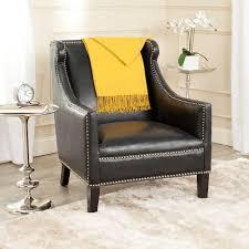 Black Leather Accent Chair Safavieh Mckinley Antique Black Leather Club Arm Chair Mcr4735a
