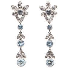 aquamarine drop earrings and co aquamarine diamond platinum drop earrings at 1stdibs