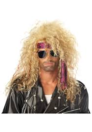 halloween costume blonde wig blonde heavy metal costume wig mens 80s halloween accessories
