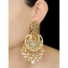 golden earrings earrings ivory half moon jadau golden earrings online indian
