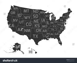 Us State Abbreviations Map Map Usa State Abbreviations Stock Vector 492204478 Shutterstock