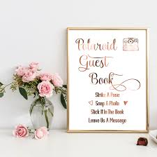 poloroid guest book copper wedding sign polaroid guest book swirly peppa