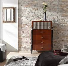 faux stone wall panels decor for bedroom combined with white
