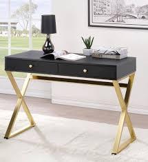 Staten Glass Corner Desk by Coleen Black Brass Pvc Hard Metal Desk Home Office The Classy