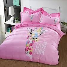 Giraffe Bedding Set Auvoau Pink Background Giraffe Pattern Duvet Cover