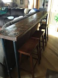 Sofa Bar Table The Bar Top 1 Inch Pipe And 2x12 Stained Wood Top