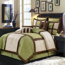 Contemporary Throw Pillows For Sofa by 8pc Modern Color Block Sage Green Ivory Comforter Set Brown