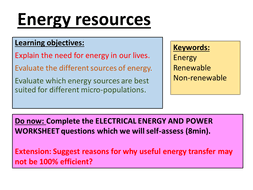 new spec aqa renewable and non renewable energy sources by