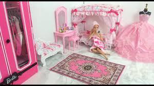 barbie bedroom morning routine barbie spa to fab باربي غرفة نوم