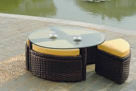 Chintaly Imports Sunny Dt Sunny 48 Quot Round Dining Table W Saint Tropez Round Outdoor Wicker Sushi Table W Ottoman By South