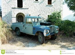 land rover vintage defender old landrover defender abandoned greece stock photo image 83401954