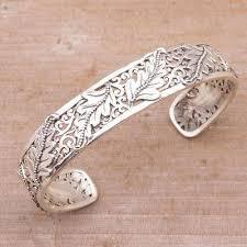 cuff bracelet sterling silver images Leafy sterling silver cuff bracelet from bali majestic leaves jpg