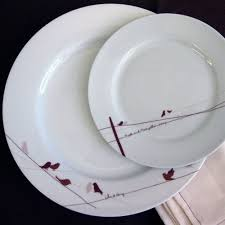 personalized dinnerware birds on a wire dinner plate rust dinnerware and lineman