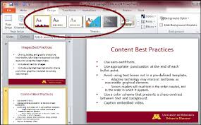 use a pre defined powerpoint slide template accessibility