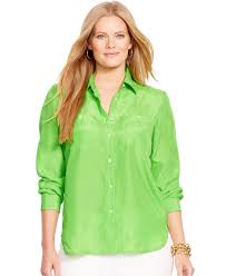 plus size silk blouse lyst by ralph plus size silk utility shirt in green