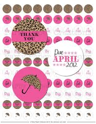 leopard print baby shower kisses sticker label collage sheet