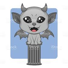 cute gargoyle halloween monster mascot stock vector art 489523608
