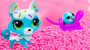 littlest pet shop frosting sprinkle husky dog and rolleroo lps toy