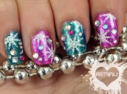 prettyfulz holiday celebration snowflake nail art