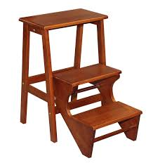 furniture brown teak wooden step stool with three steps for