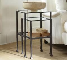 pottery barn black coffee table tanner nesting side tables bronze finish pottery barn
