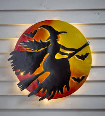 3d lighted flying witch recycled oil drum lid wall art halloween
