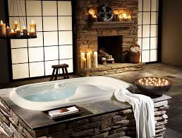 stoned jacuzzi bathtub in traditional bathroom themed feat