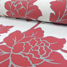 grey wallpaper with red flowers arthouse anya rose flower pattern wallpaper embossed floral glitter