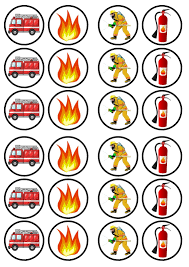 firefighter cupcake toppers fireman engine edible premium sweetened wafer paper cupcake