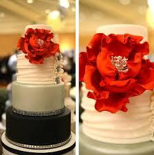 elegant fondant wedding cake with huge red peony mon cheri bridals