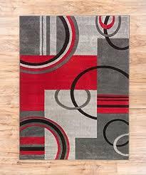 bedroom modern area rug red grey beige black circles 5x7 carpet