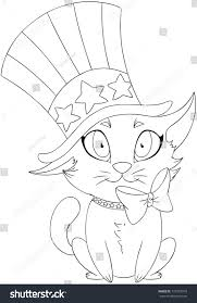 vector illustration coloring page kitten wearing stock vector