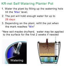 self watering planter flower pot water storage level indicator